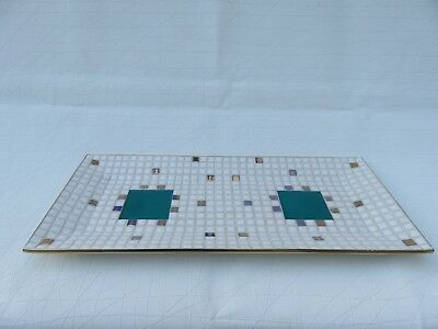 Mid Century Large Inlay Ceramic Mosaic Tile Long Serving Tray~Bread