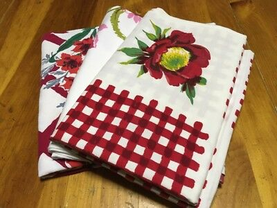 Vintage Lot Of 3 Floral Design Tablecloths______Not Cutters