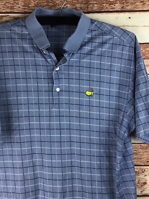 5579583c6 Amen Corner AUGUSTA NATIONAL MASTERS Light Blue Plaid GOLF Polo Shirt Size  Large