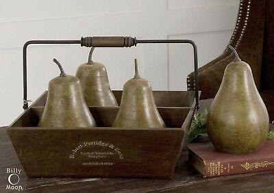 Four Pears In Farmhouse Basket Crate Country Art Decor Aged Finish Uttermost