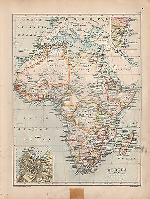 1901 Victorian Map Africa ~ Cape Town Environs Cape Colony Abyssinia Madagascar