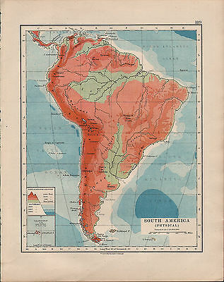 1914 Map ~ South America Physical ~ Brazil Argentina Peru Chile Colombia