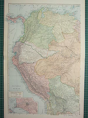 1928 Map ~ South America North West ~ Peru Colombia Venezuela Bolivia Lima