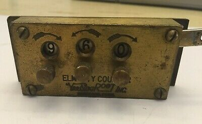 Vintage Antique 1891 Elm City Mechanical Brass Counter bus or train works LN