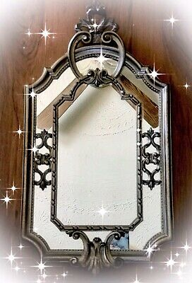 """Vintage Ornate 23.5"""" X 12"""" MIRROR Made In ITALY Victorian Rococo Style Wood Gess"""