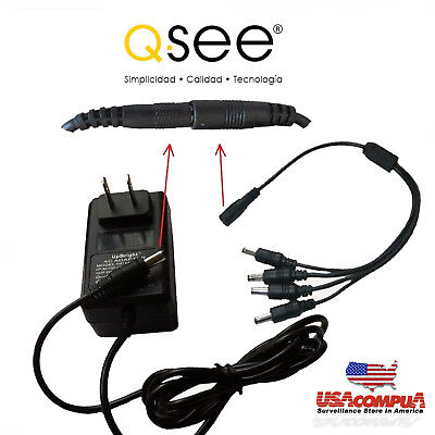 12v 3a NEW 8 to 1 Q-SEE SWANN CCTV Camera  AC Power Adapter Pack /& Cable