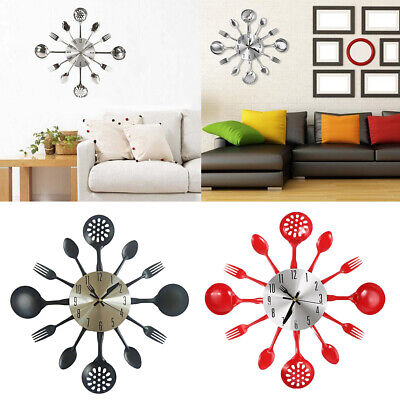 Kitchen Wall Clock Forks and Spoons for Home Decor Silent Non Ticking