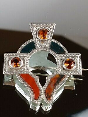 Scottish Agate Silver Brooch With Cairngorms And Entraving.