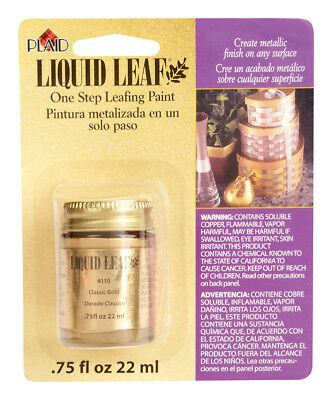 NEW Liquid Leaf 0.8 oz. Metallic Classic Gold Restoring Metallic Paint 6110