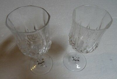 """Wine Glasses Cordial Cristal d'Arques France  4 5/8"""" Tall Set of 2"""