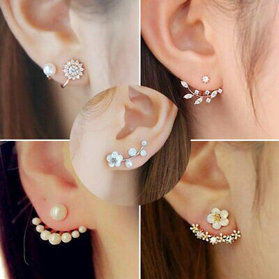 1Pair Fashion Women Crystal Rhinestone Earrings Lady Elegant Ear Stud Jewelry