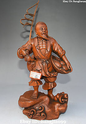 """12"""" Chinese Boxwood Wood Carving Fisherman Old Man People Fish Barracuda Statue"""