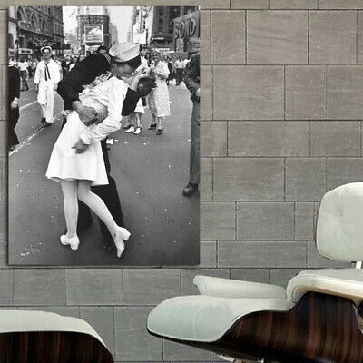 #01 WWII D Day Victory Parade Kiss NY 36x48 inch More Sizes Poster Canvas Frame