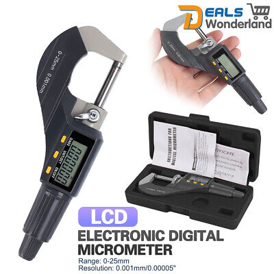 Electronic LCD Digital Micrometer Outside Micro Calipers Length Measuring 0~25mm