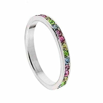 Multi CZ Rainbow Ring Stackable Band Stainless Steel Choose Size Jewelry]