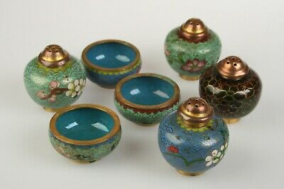 Collection of Vintage Chinese Cloisonne Enamel Salt & Pepper Shakers 7 pieces