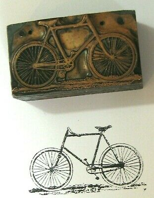 Antique Printers Block Sterling Bicycle Advertising 19th c Copper /  Wood