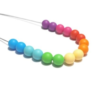 Silicone Sensory (was Teething) Necklace Rainbow Multi Colour Beads Gift For Mum
