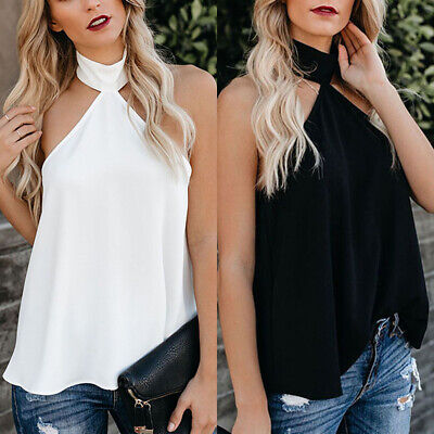 706a9b01a2b35a Womens Chiffon Halter Backless T Shirt Summer Party Loose Casual Tank Top  Blouse