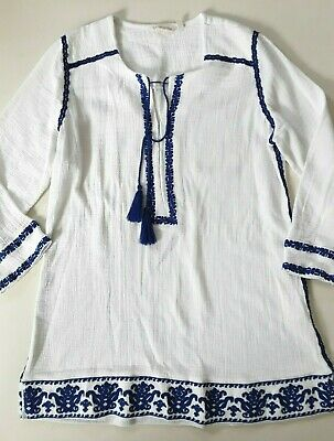 4db49703878 Soft Surroundings Gauzy White Cotton Embroidered Peasant Blouse Tunic Top  Size M