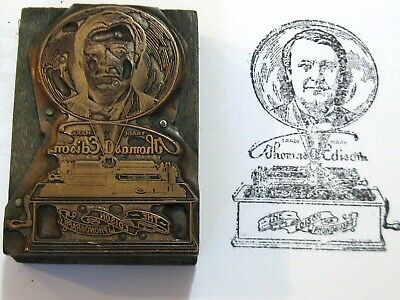 Antique Printers Block Thomas Edison Phonograph Advertising 19th c Copper / Wood