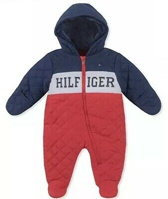 e3327513f Tommy Hilfiger Spell Out Snow Suit Infant 3-6 Months Hood Red Blue NWT