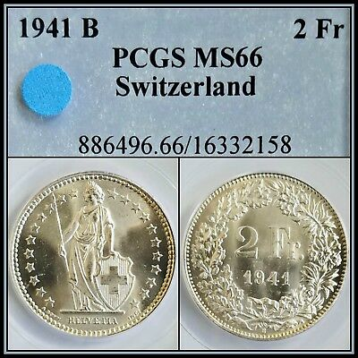 1941-B Silver Switzerland 2 Francs PCGS MS66 Gem BU Unc Uncirculated Swiss Coin