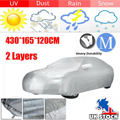 2 Layer Heavy Duty Waterproof Car Cover Cotton Lining Scratch Proof Size M UK