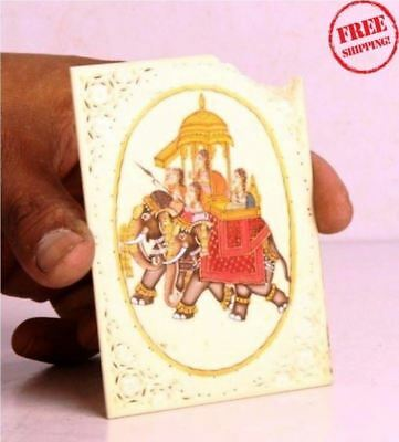 Old Art Hand Crafted Bone Jali Cutting Frame Hand Painted Elephant & Men 4636