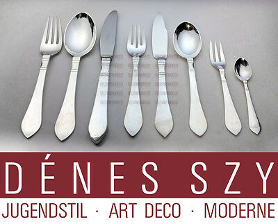 Georg Jensen six place sterling silver cutlery service of CONTINENTAL pattern 48