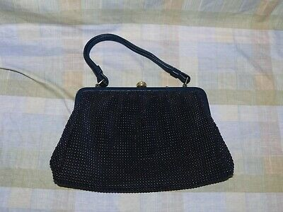 Vintage Retro Ladies Goldcrest Handbag Pearl Mesh Vinyl Beaded Made in NSW Aus