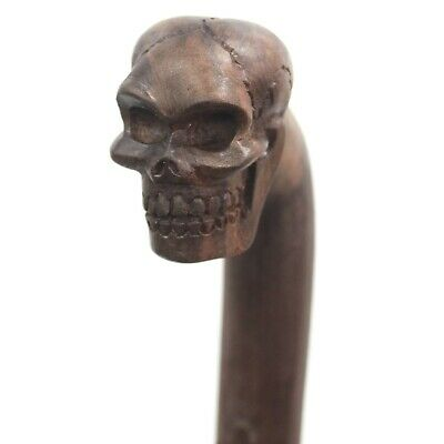 Skull Wooden Walking Stick - Hand Carved from Saur Wood - A Real Work of Art