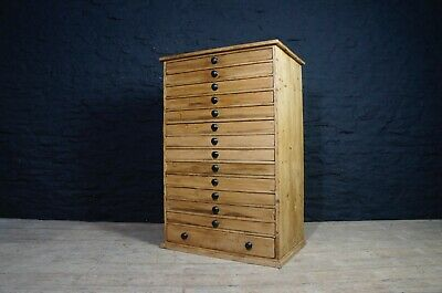 Large Antique Specimen Chest / Collectors Bank of 14 Drawers ~ Sewing Rocks Eggs