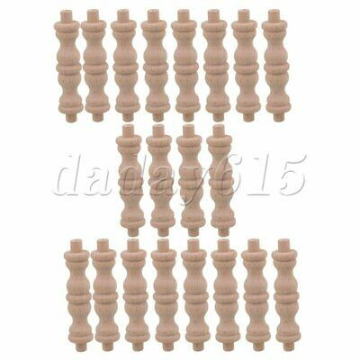 4 pcs Cabinet Accessories 27.5cm Unfinished Wood Natural Wooden Spindle