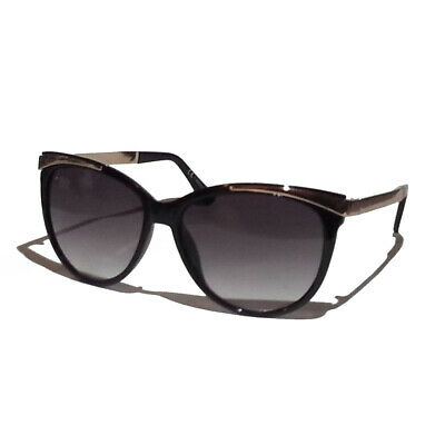 Foster Grant Women Sunglasses Black with Gold Decor Cat Eye Style