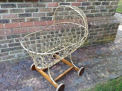 Vintage Victorian Metal Baby Crib Cot on Wheels