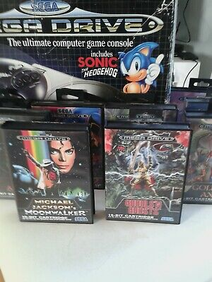 Sega Megadrive console boxed with 10 absoloute classic games