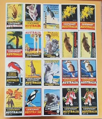 Cinderella Stamps MELBOURNE CENTENARY 1934 - 1935 FULL SHEET ORIGINAL
