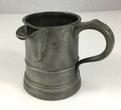 Antique Pewter Pint Measure Tankard With Spout 11.5cm In Height
