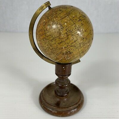"Antique Pocket Miniature Terrestrial Globe Smith & Son London 2.6"" Outline Earth"