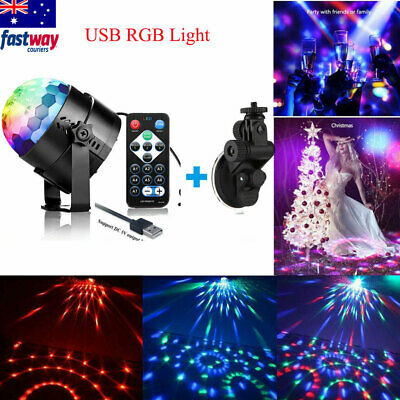 USB RGB LED Disco Ball Party Light Effect Strobe Sound Activated Remote Control