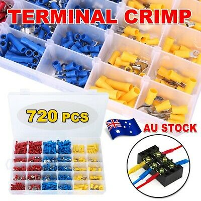 Electrical Wire Connector 720Pcs Assorted Insulated Crimp Terminals Spade Set AU