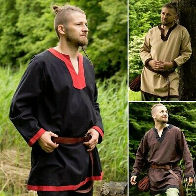 Viking Style Heavy Cotton V-necked Tunic for Costume, Stage, Re-enactment & LARP