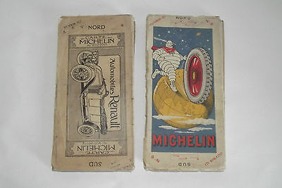 04b61 Set of 2 Guide Card Michelin Delagrave Advertising Plan Paris South & N° 6