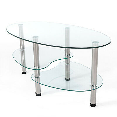 Oval Coffee Table With Shelf.Clear Glass Oval Coffee Table With 2 Shelf Storage Chrome Bar Legs Living Room