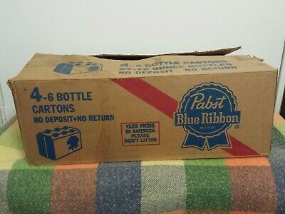 VINTAGE LIGHT WEIGHT PABST BLUE RIBBON CARDBOARD BOX FOUR 12oz -6 BOTTLE CARTONS