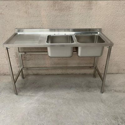 Commercial Stainless Steel Sink Double Bowl Left Drainer 1500mm 1.5m 150cm