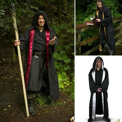 Magicians Robe with Satin Trim & Hood for Costume,Stage,Re-enactment & LARP