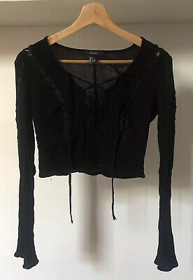 b42d4acae41c6 Forever 21 Black Cheesecloth Crop Top Boho Lace Up Gypsy Festival Size S