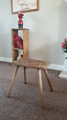 Antique Primitive Rustic Hand Made Wooden Milking Stool
